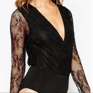 Bcbg Lace Bodysuit Top